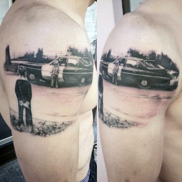Mens Quarter Sleeve Police Car And Children Tattoo Design Ideas