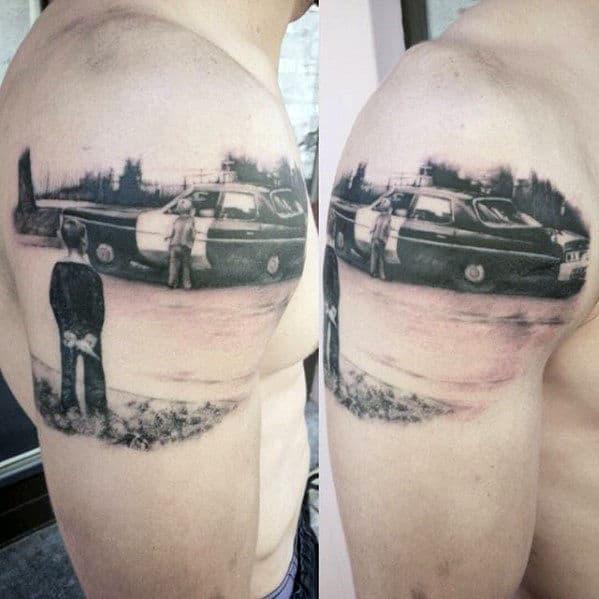 Mens Quarter Sleeve Police Car And Children Tattoo Design Ideas