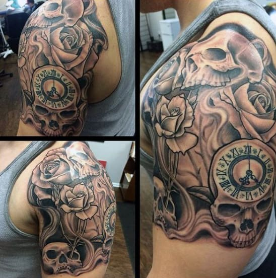 Mens Quarter Sleeves Rose Skull Tattoo