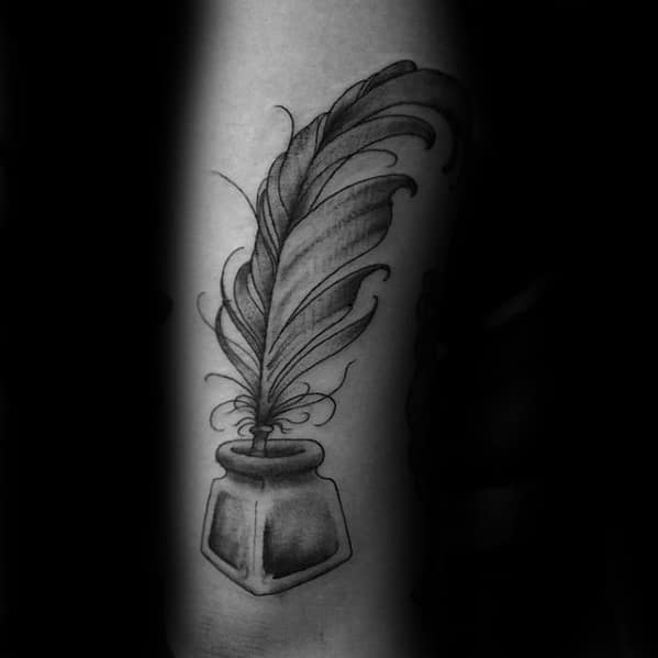 Mens Quill Tattoo Design Inspiration On Tricep