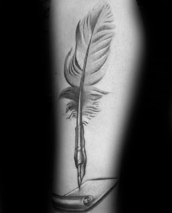 Mens Quill With Paper Tattoo Design Ideas On Leg