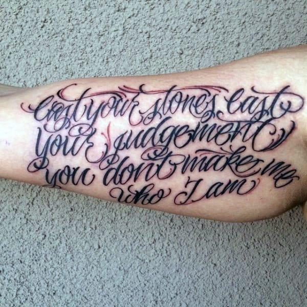 Mens Quote Inner Arm Tattoos