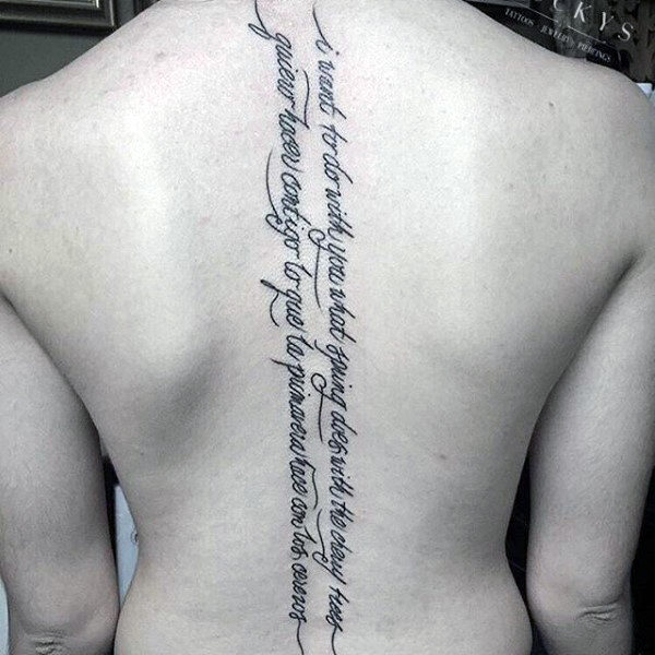 Mens Quote Lettering Spine Tattoos
