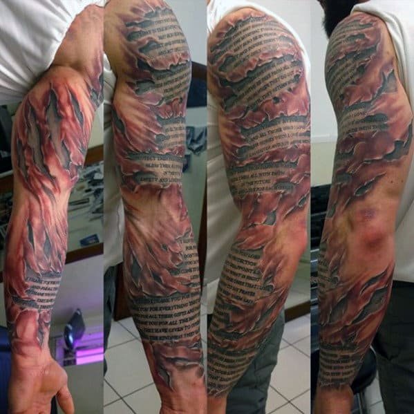 Mens Quote Ripped Skin 3d Full Arm Tattoo Ideas