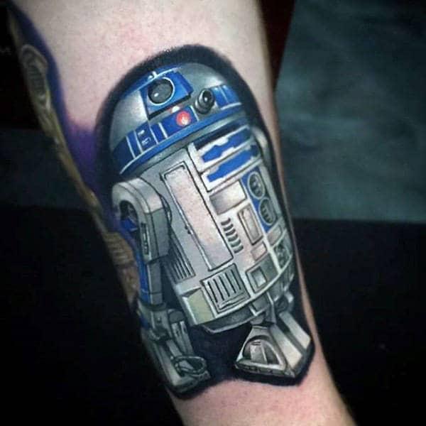 Mens R2d2 Blue Grey Metallic Star Wars Tattoo