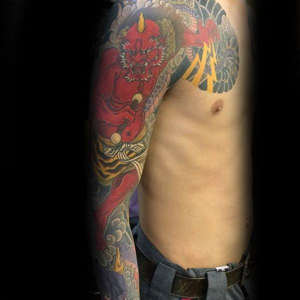 Mens Raijin Tattoo Design Ideas