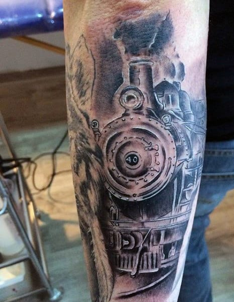 Mens Rail Road Sign Tattoo On Forearm
