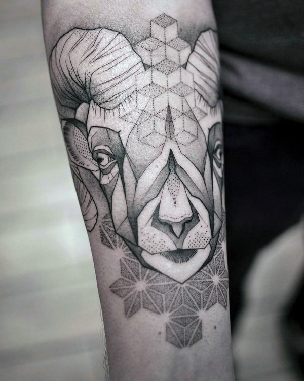 Mens Ram Geometric Dotwork Tattoos On Inner Forearm