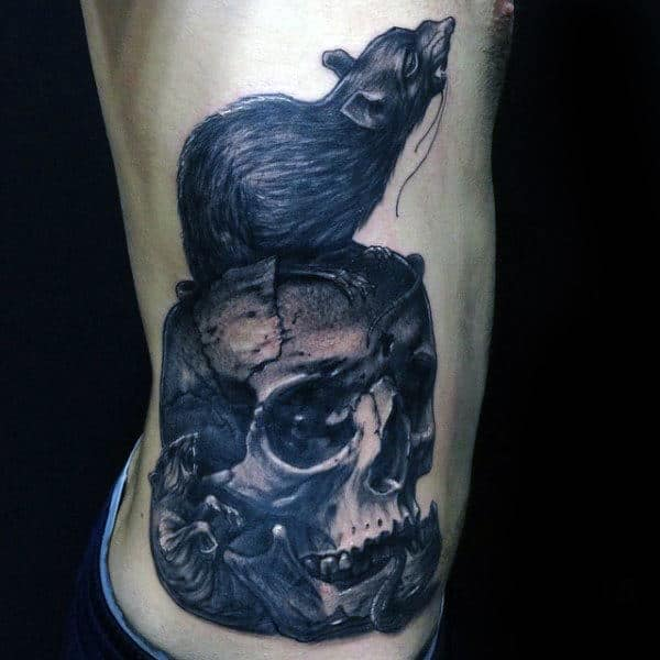Mens Rat Standing On Top Of Skull Rib Cage Side Tattoo Designs