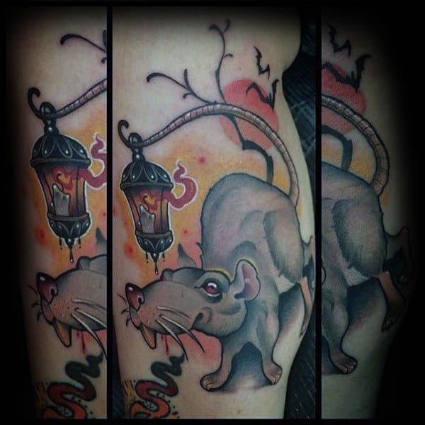 Mens Rat With Lantern Bicep Tattoos