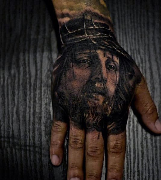 Mens Reaistic Jesus Christ Hand Tattoo