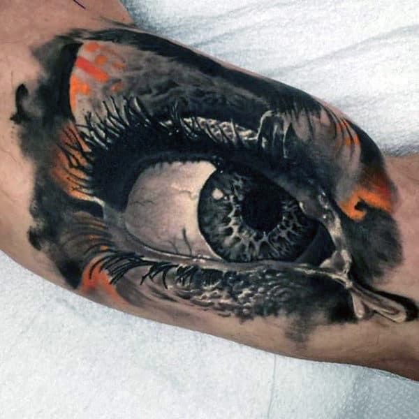 Mens Realistic 3d Awesome Bicep Eye Tattoo Watercolor