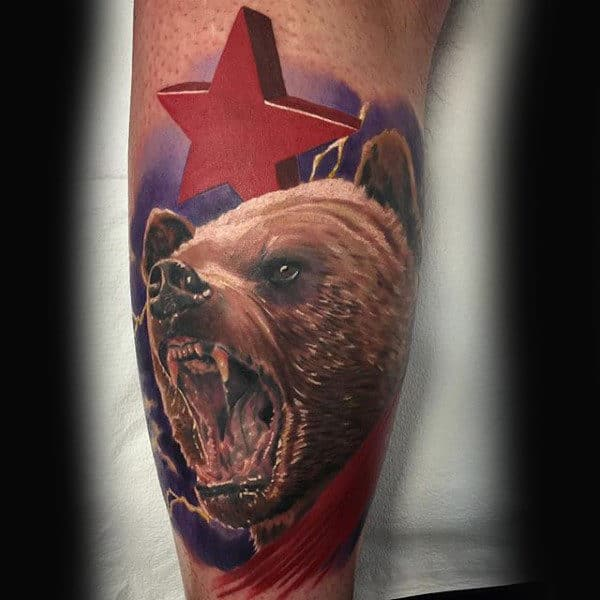 Mens Realistic 3d California Bear With Star Arm Tattoo Design Ideas