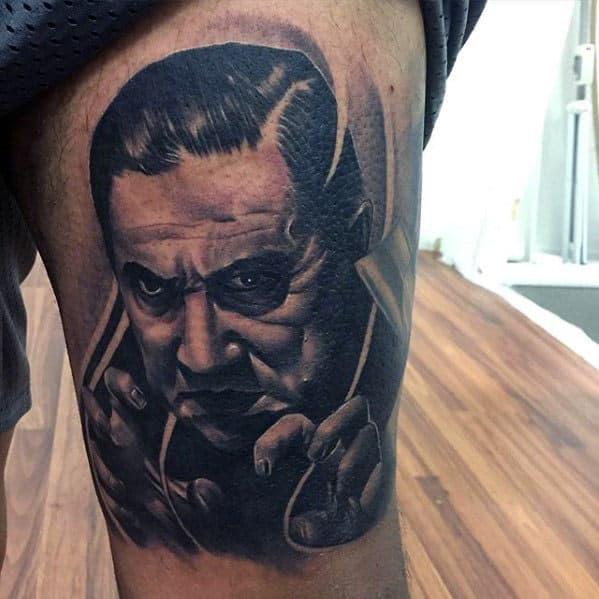 Mens Realistic 3d Dracula Tattoo Design On Thigh