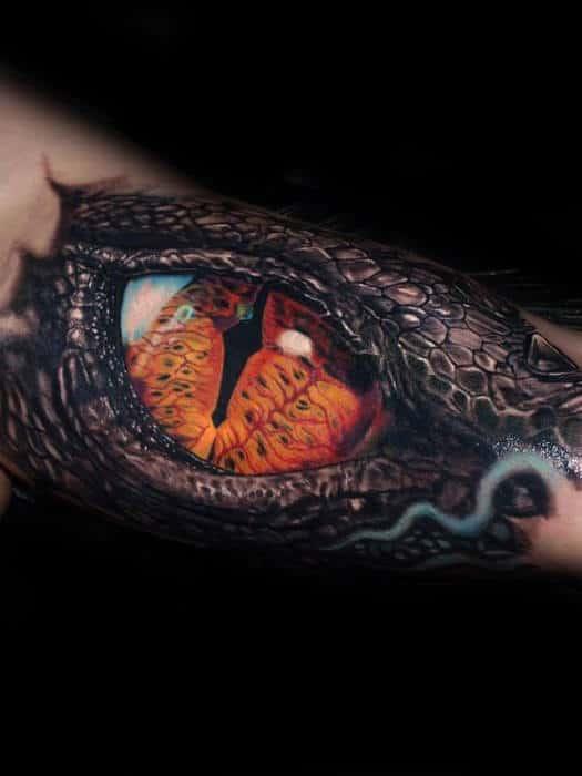 Mens Realistic 3d Dragon Eye Inner Arm Bicep Tattoos