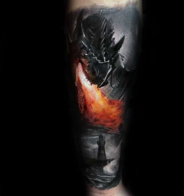 Mens Realistic 3d Dragon Forearm Tattoo Designs