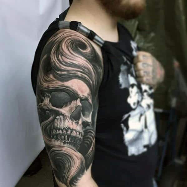 Mens Realistic 3d Skull Black And Grey Ink Tattoo Designs On Arm