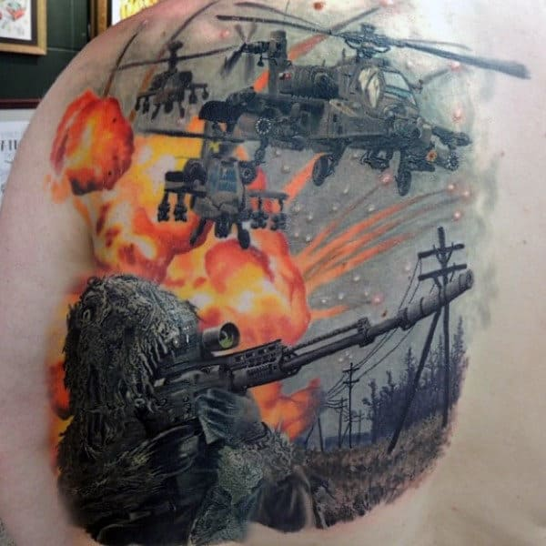 Mens Realistic Army Back Tattoos With Sniper Soilder And Apache Helicopters