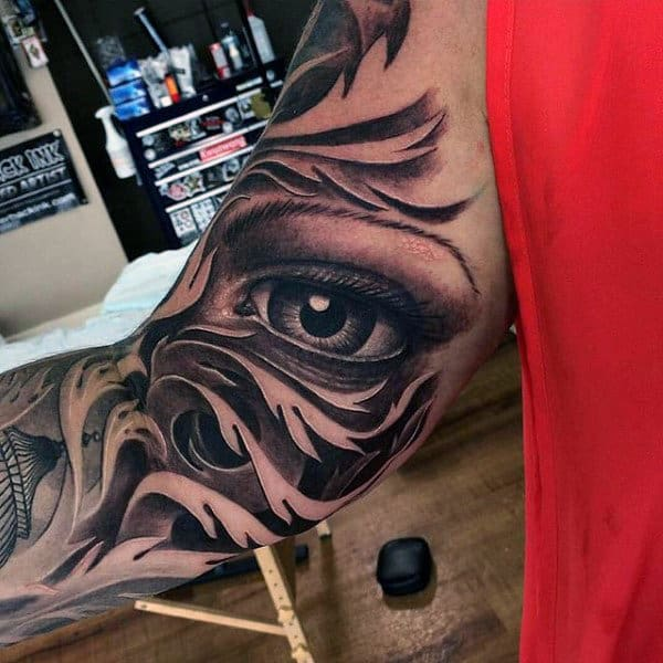Mens Realistic Black Ink Decroative Eye Arm Tattoo