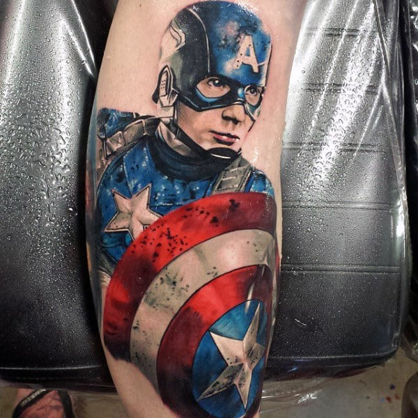 Mens Realistic Captain America Leg Tattoo Ideas