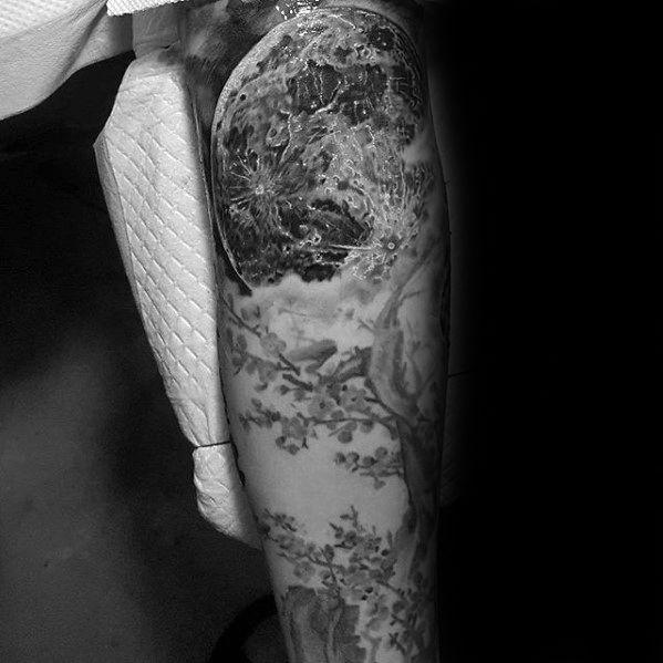 Mens Realistic Cherry Blossom Tree With Moon Arm Tattoo