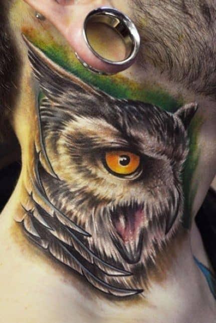 Mens Realistic Cool Owl Neck Tattoo Ideas