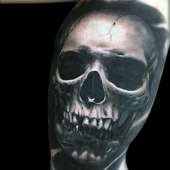 Mens Realistic Different Skull Inner Arm Bicep Tattoo Designs