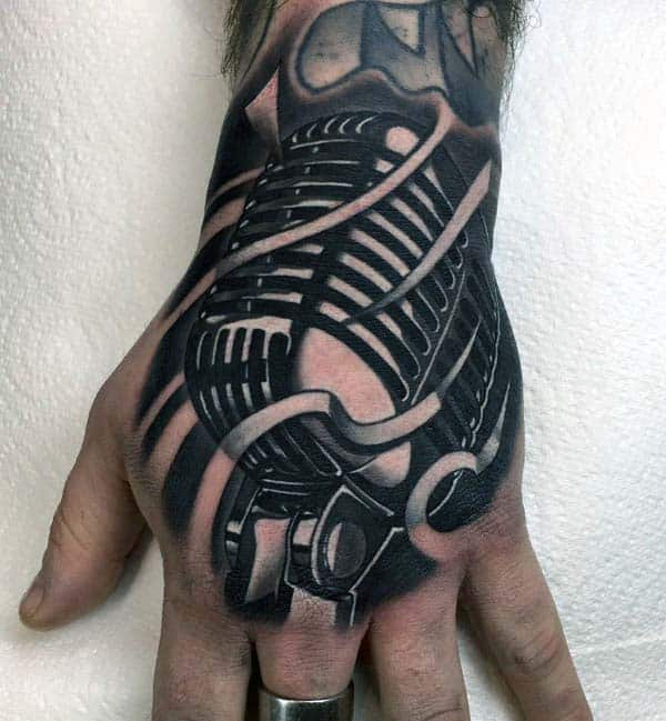 Mens Realistic Extreme Metallic Microphone Hand Tattoo