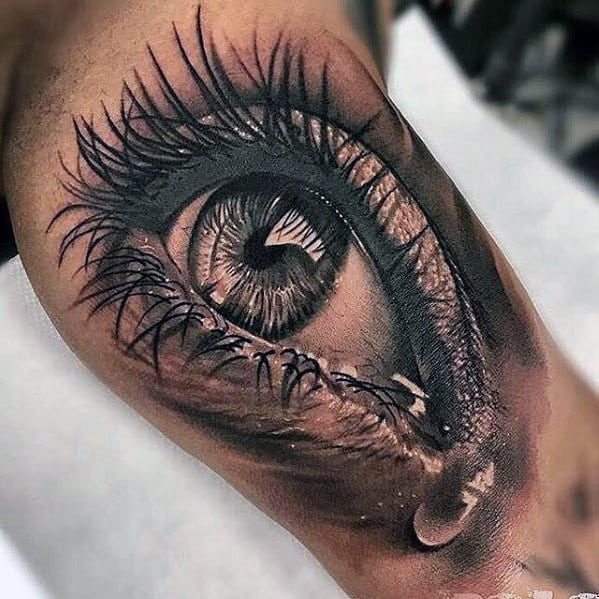 Mens Realistic Eye With Tear Inner Arm Bicep Tattoo