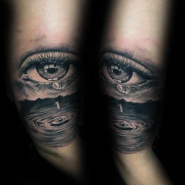 Mens Realistic Eye With Water Droplet Tattoo On Arm