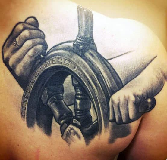 Mens Realistic Hand Steering Ships Wheel Tattoo On Chest