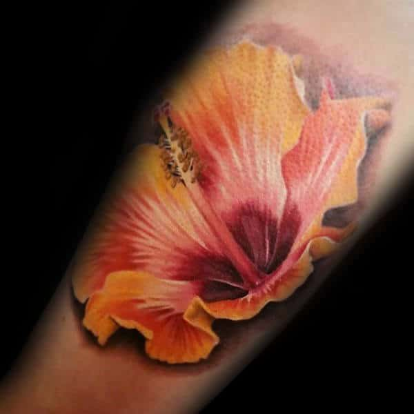 Mens Realistic Hibiscus Flower 3d Tattoo On Arm