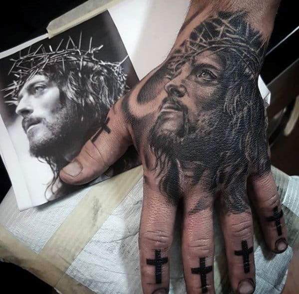 20 jesus hand tattoo designs for men christ ink ideas. Black Bedroom Furniture Sets. Home Design Ideas