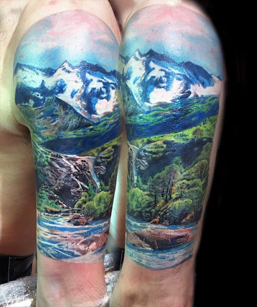 90 landscape tattoos for men scenic design ideas. Black Bedroom Furniture Sets. Home Design Ideas