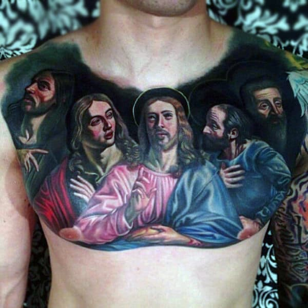 Mens Realistic Last Supper Chest Tattoo Design Ideas