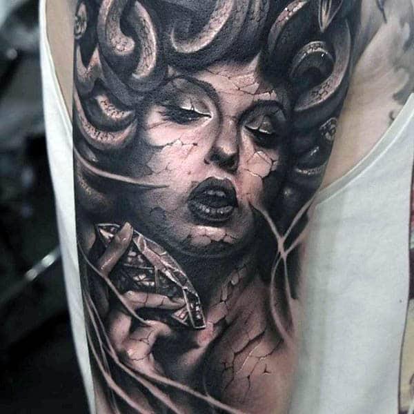 Mens Realistic Medusa Diamond Tattoo Design On Upper Arm