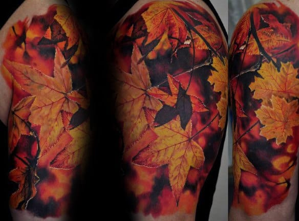 Mens Realistic Orange Leaves Fall Half Sleeve Tattoo
