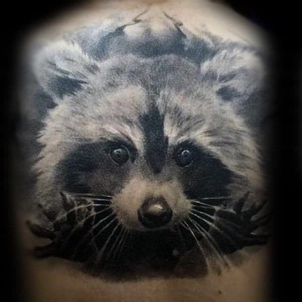 Mens Realistic Raccoon Shaded 3d Back Tattoos