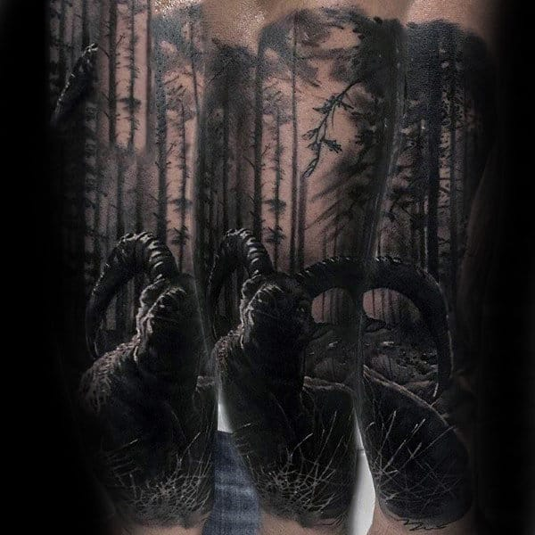 Mens Realistic Ram In The Forest Sleeve Tattoo