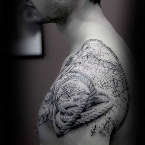 80 rope tattoo designs for men corded ink ideas mens realistic rope and map tattoo shoulders gumiabroncs Image collections
