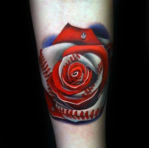 Mens Realistic Rose 3d Baseball Tattoo