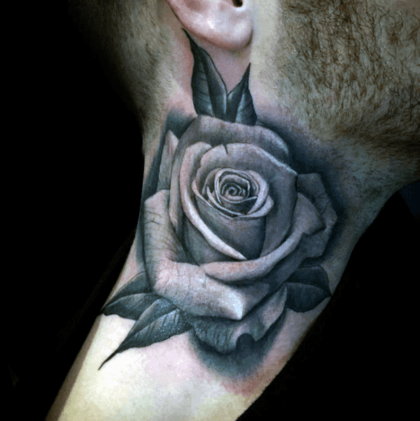 Mens Realistic Rose Shaded Neck Tattoos