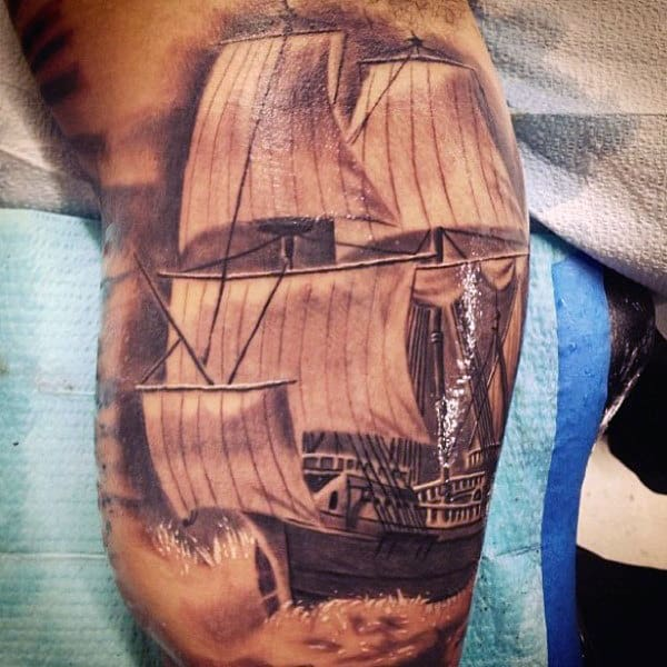 Mens Realistic Sailing Ship Inner Arm Tattoo
