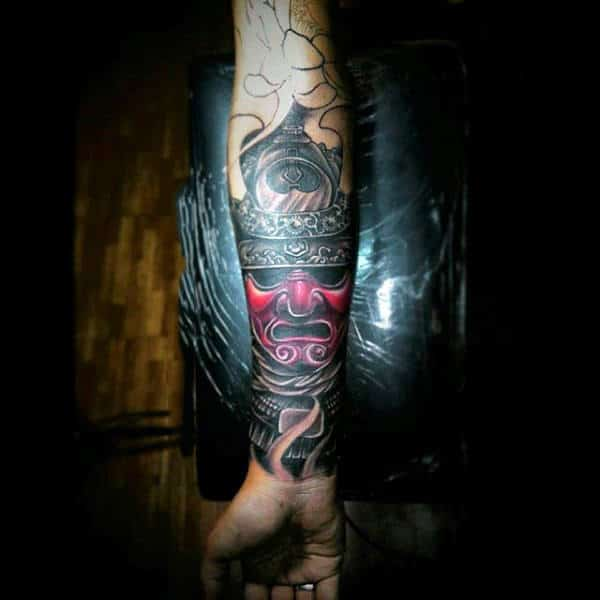 Mens Realistic Samurai Mask With Red Face Half Sleeve Tattoo