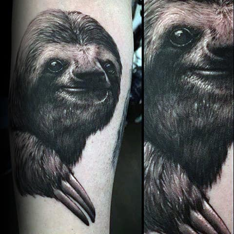 Mens Realistic Sloth Tattoo On Arm