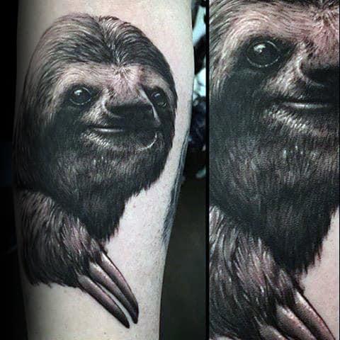 Mens Realistic Sloth Tattoo On Arm