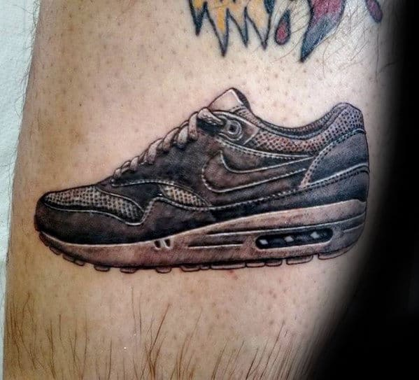 Mens Realistic Small Tattoo Of Nike Sneaker On Leg