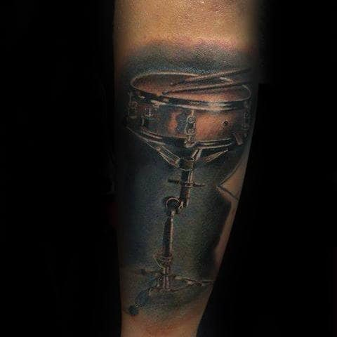 Mens Realistic Snare Drum Watercolor Forearm Tattoo Design Ideas