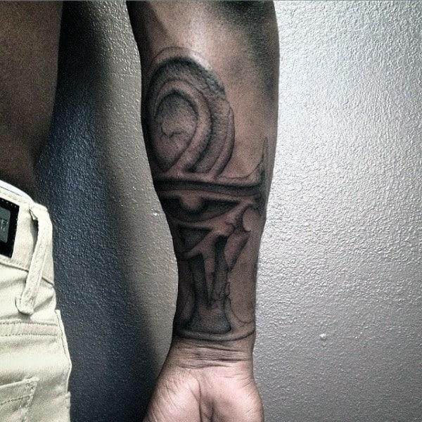 Mens Realistic Stone Ankh Forearm Tattoo