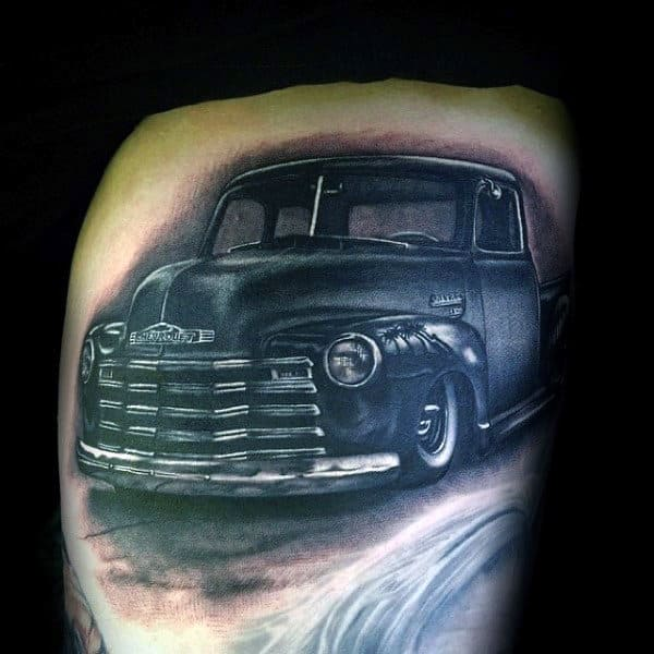 Mens Realistic Truck Thigh Tattoos